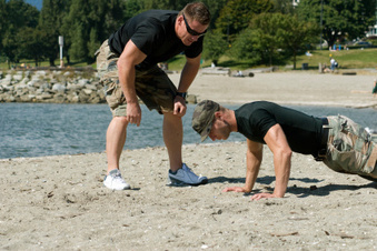 Photo of a fitness boot camp in session.